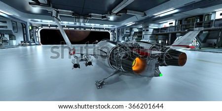 3D CG rendering of space ship - stock photo