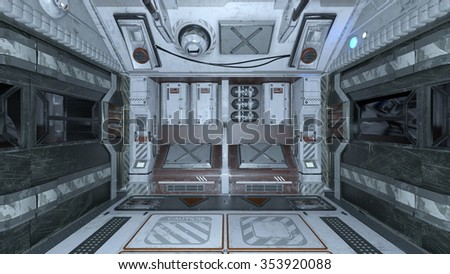 3D CG rendering of space station - stock photo