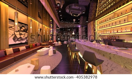 3D CG rendering of the bar - stock photo