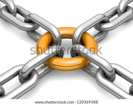 3d chain chrome cross security metal. illustration of a single chain link isolated on white background. Business and Sports concept - stock photo