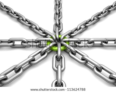3d chain chrome green cross security metal. illustration of a single chain link isolated on white background. Business and Sports concept - stock photo