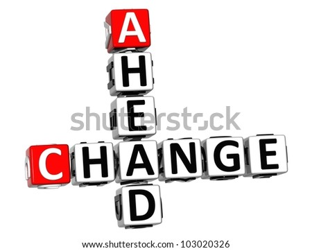 3D Change Ahead Crossword on white background