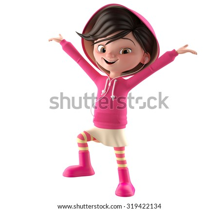 3d character, a little girl, simple stylized female figure with black hair and a pink sweatshirt with hood and striped tights. Funny smiling icon with headphones, listening to music on mobile - stock photo