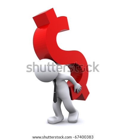 3d character carrying dollar symbol. Isolated