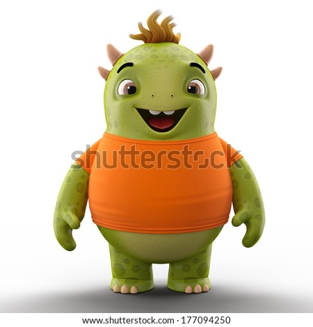 3D character, cheerful cartoon, amusing monster isolated on white background