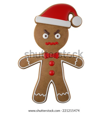 3d character, cheerful gingerbread, Christmas funny decoration, baked sweet candy, baby boy with frosting, funny fresh addition isolated on white background