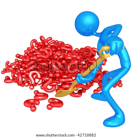 3D Character Digging In A Pile Of Questions - stock photo