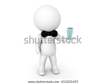 3D Character dressed as waiter holding a drink. Image can relate to hotel service industry.
