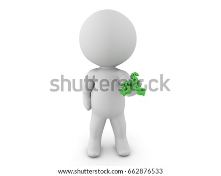 3D Character extending his hand out with dollar symbols in his palm. Isolated on white.