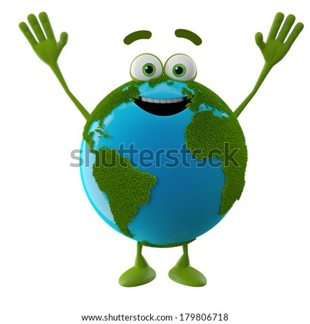 3D character, globe icon, symbol of ecology, eco nature smiley