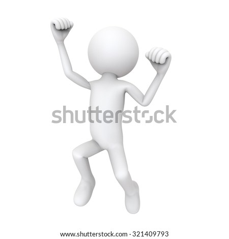 3d character happy jump, isolated on white background
