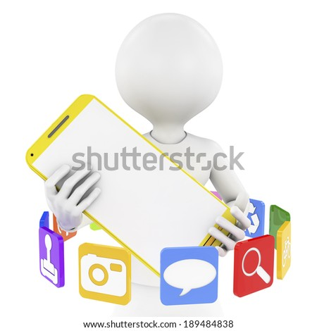 3d character holding a mobile phone, surrounded app icons - stock photo