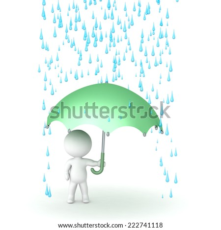 3D character holding an umbrella and with rain drops above him, isolate on white  - stock photo