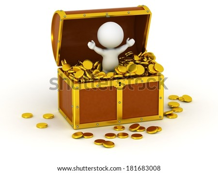 3D Character inside Treasure Chest with Gold Coins - stock photo