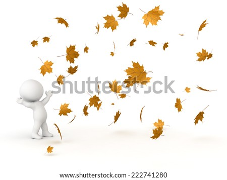 3D character looking up at many falling Autumn leaves, isolated on white  - stock photo