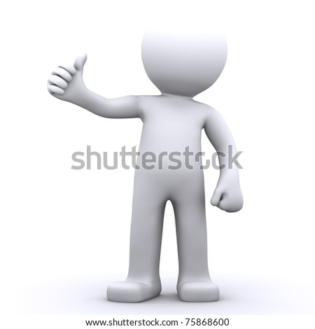 3d character man showing thumbs up. Isolated onwhite background