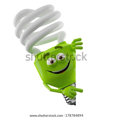 3D character of green spiral light bulb isolated on white background, happy cartoon, eco illustration, save money icon with blank banner - stock photo