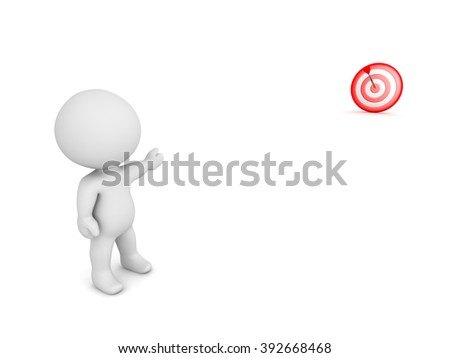 3D character pointing toward a bulls eye target in the distance. Isolated on white background.