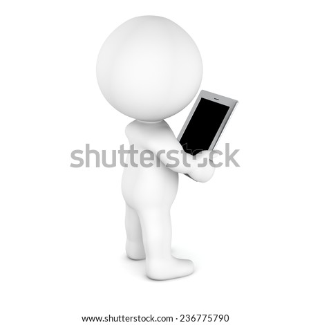 3D Character Reading from Generic Tablet - blank screen - stock photo
