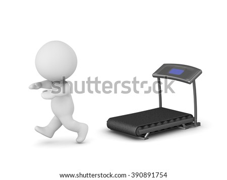 3D character running away from a treadmill. Isolated on white background. - stock photo