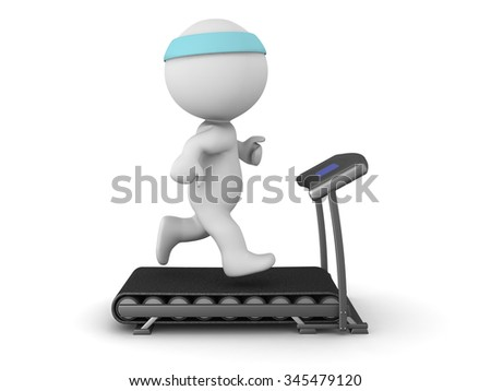 3D character running on a treadmill. Isolated on white background.  - stock photo