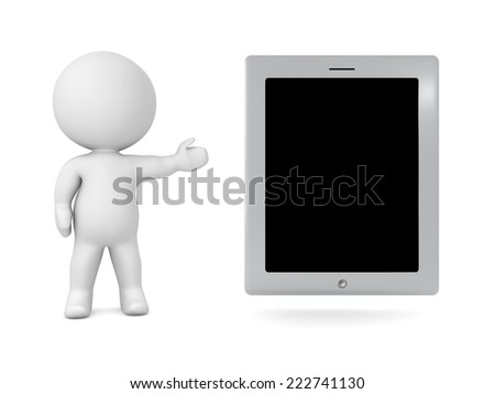 3D character showing a generic tablet, isolated on white  - stock photo