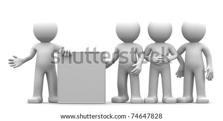 3D character showing blank banner to the goup of people. isolated
