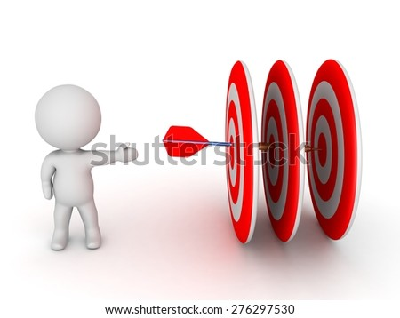 3D Character Showing Dart Arrow Going Through Three Targets