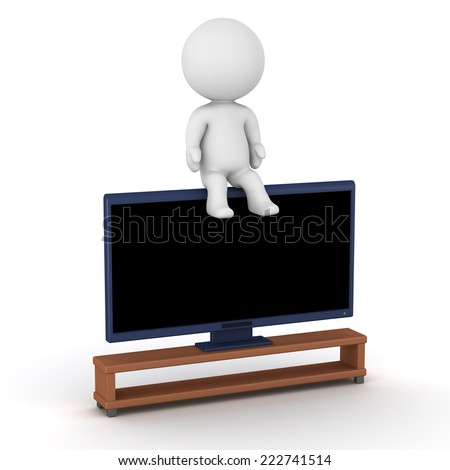 3D character sitting on a large big screen TV  - stock photo