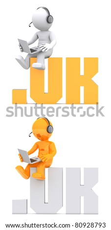 3d character sitting on .UK domain sign. Isolated on white - stock photo