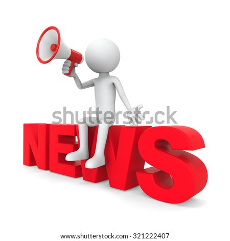 "3d character sitting with megaphone on text ""news"""