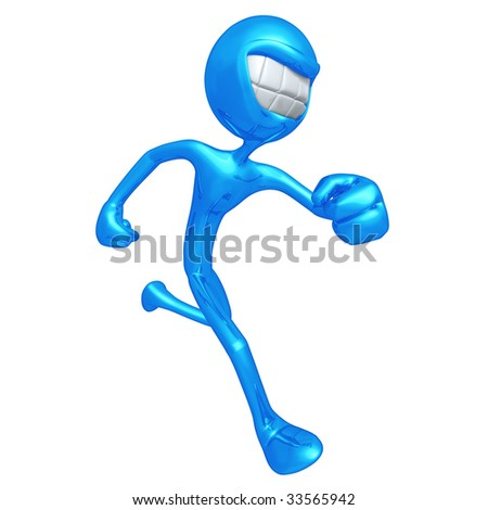 3D Character Smiling And Running