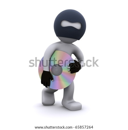 3d character stealing cd. Computer piracy concept. Isolated - stock photo