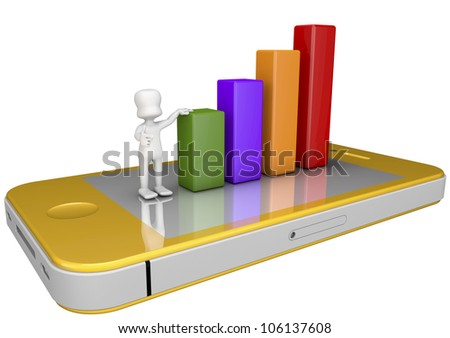 3d character supported by statistical bars placed on top of a mobile phone - stock photo
