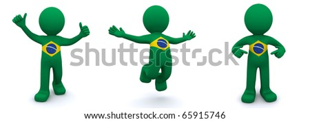3d character textured with flag of Brazil isolated on white background - stock photo