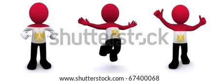 3d character textured with flag of Egypt isolated on white background - stock photo