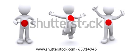 3d character textured with flag of Japan isolated on white background - stock photo