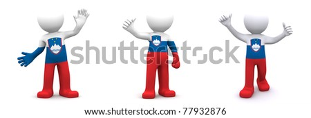 3d character textured with flag of Slovenia isolated on white background