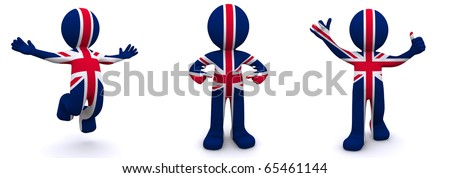 3d character textured with flag of UK isolated on white background - stock photo