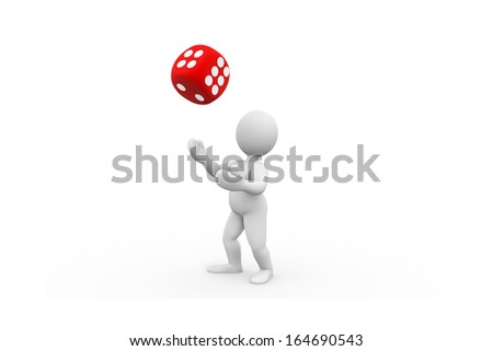 3D Character throwing a dice