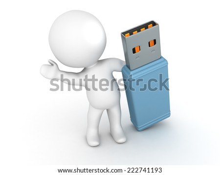 3D character waving from behind a large USB stick, isolated on white