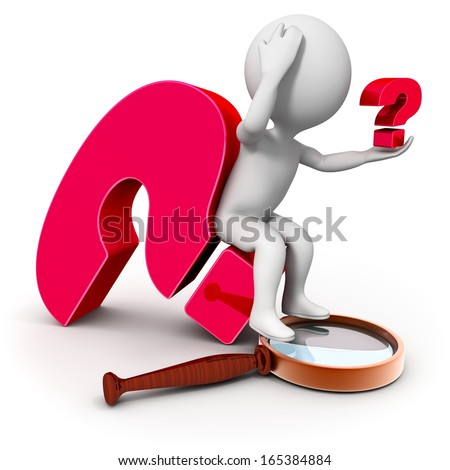 3d character with a magnifying glass investigates question - stock photo