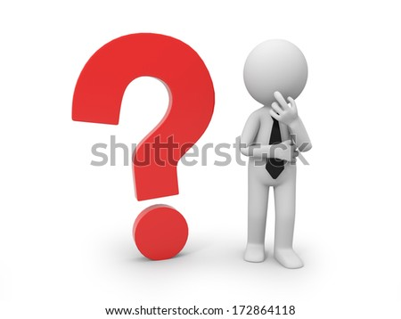 3d character with a red question mark - stock photo