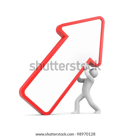 3d character with arrow. Add you graphics or text on arrow - stock photo