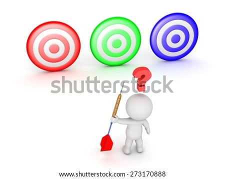 3D Character With Dart Arrow Thinking about Three Targets  - stock photo