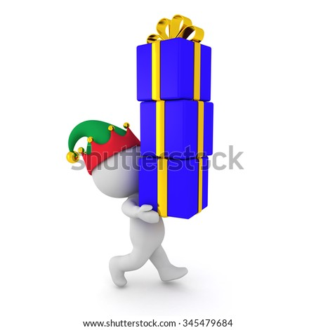 3D character with elf hat carrying a stack of wrapped gifts. Isolated on white background.