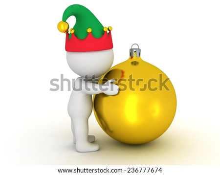 3D Character with Elf Hat Hugs Golden Globe