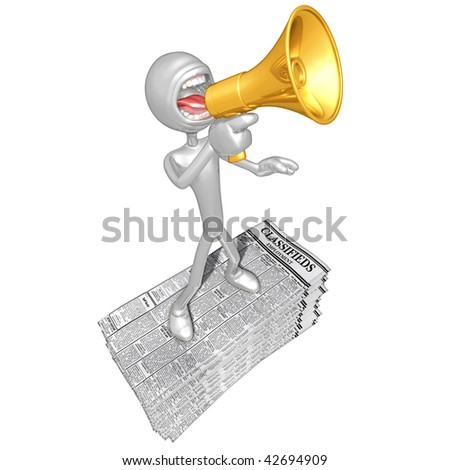 3D Character With Employment Classifieds - stock photo