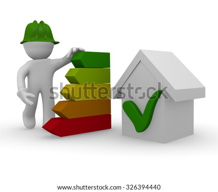 3d character with energy classification of a house - stock photo