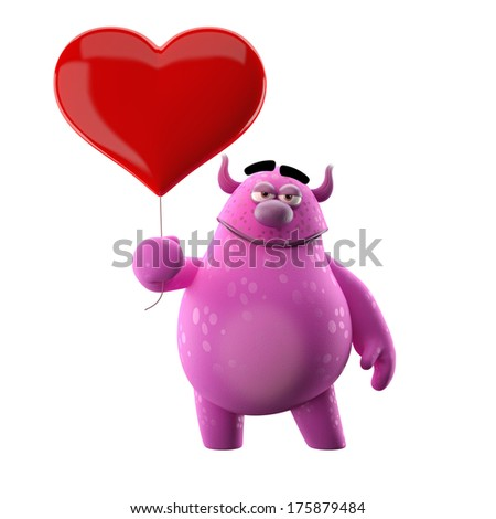 3D character with heart - for love message